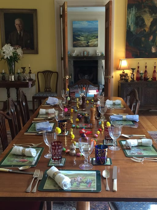 The dining room set for Easter lunch