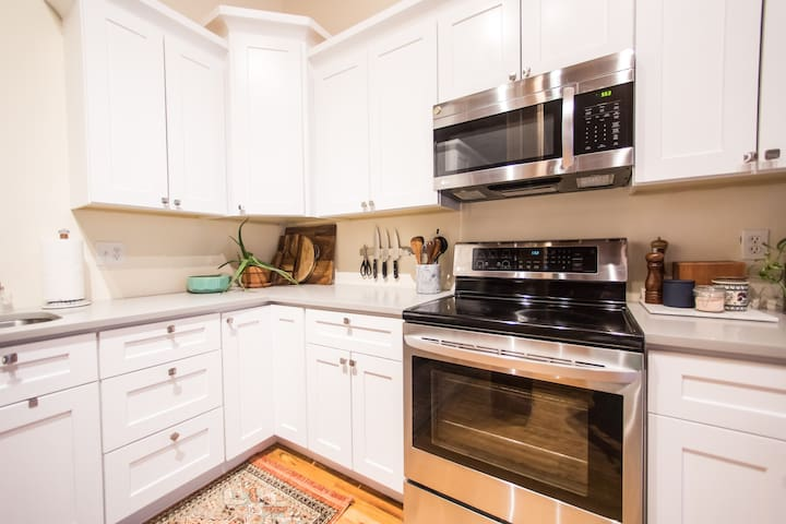Well-equipped kitchen is modern and sleek. We have all the equipment you will need to cook a gourmet meal.