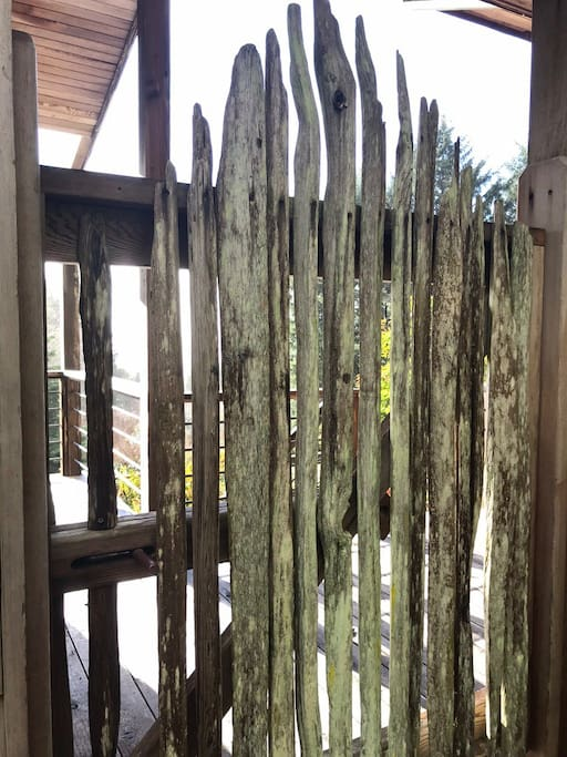 One of several fab driftwood gates around the property, this one leading to the bungalow.
