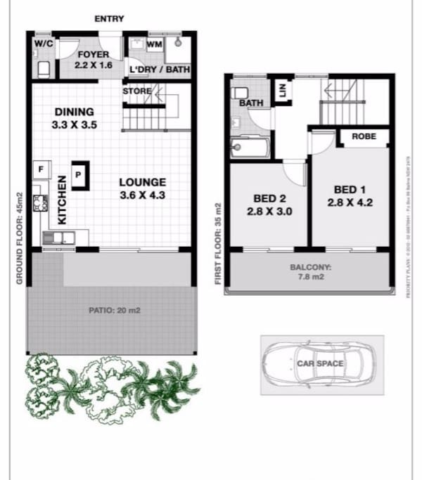 upstairs bedrooms and bathroom. downstairs living areas and surfers bathroom/laundry.