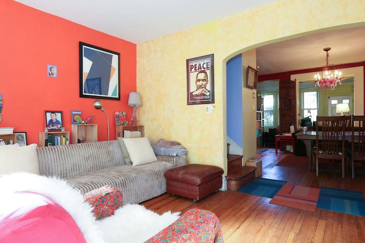 Room in a colorful, sunny house!
