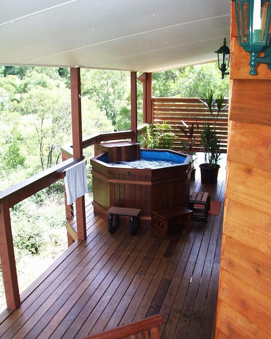 Watch the birds while sipping wine in the spa