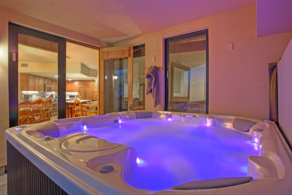 8 person hot tub on private balcony. Outside yet shielded from the elements.