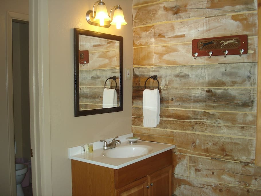West cabin vanity and bathroom