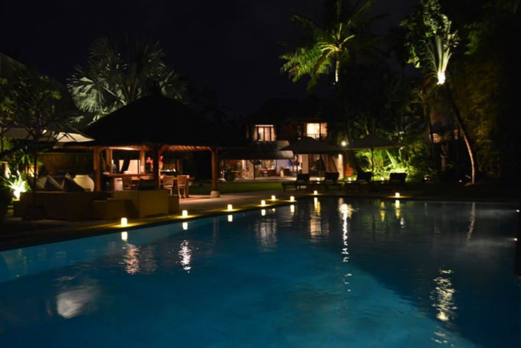Villa and Pool view at night