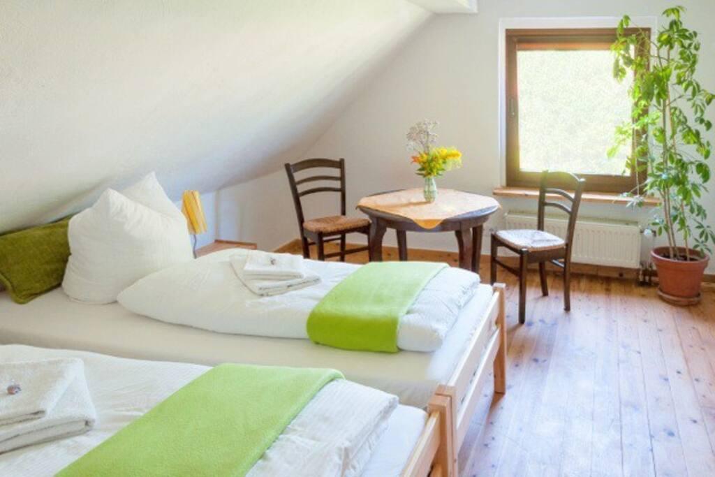 2 Einzelbetten und Aufbettung für einen 3  Gast;  Bettwäsche, Handtücher und WLAN
