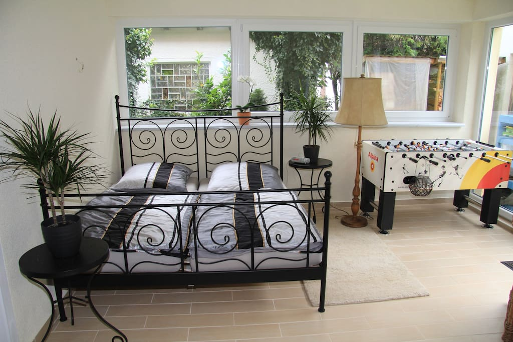 Your room with a double bed.