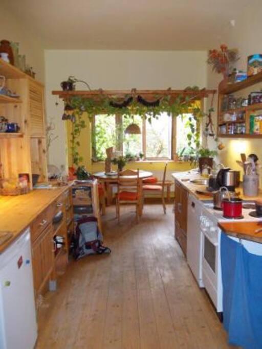 Große Wohnküche, voll ausgestattet (Herd, Geschirrspüler, Kochutensilien)