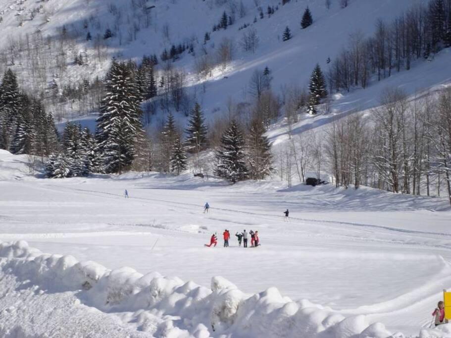 Pistes de ski de fond face au chalet