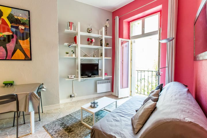 View from living area with small balcony and sofa bed with very good quality matress