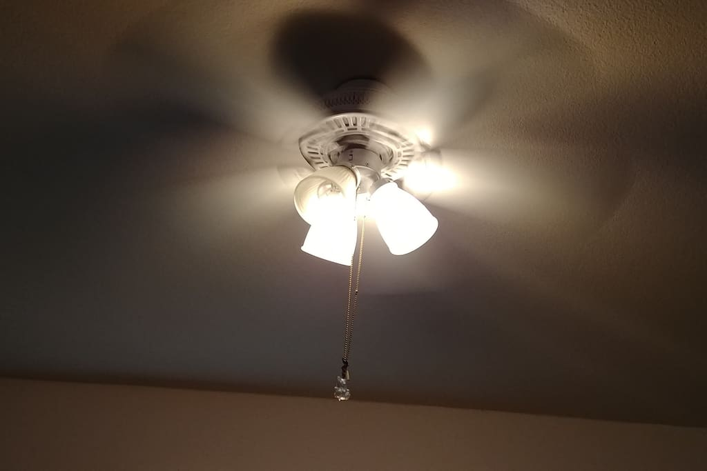 Ceiling fan to keep you cool.