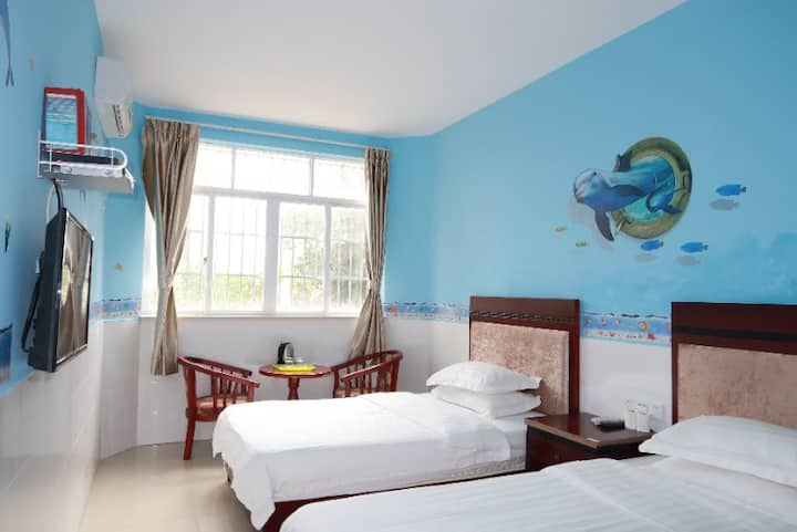 珠海外伶仃岛旅游-最美海景榻榻米度假屋—-标准双人房特价~~适合2大2小,可订潜水套餐看珊瑚看深海鱼