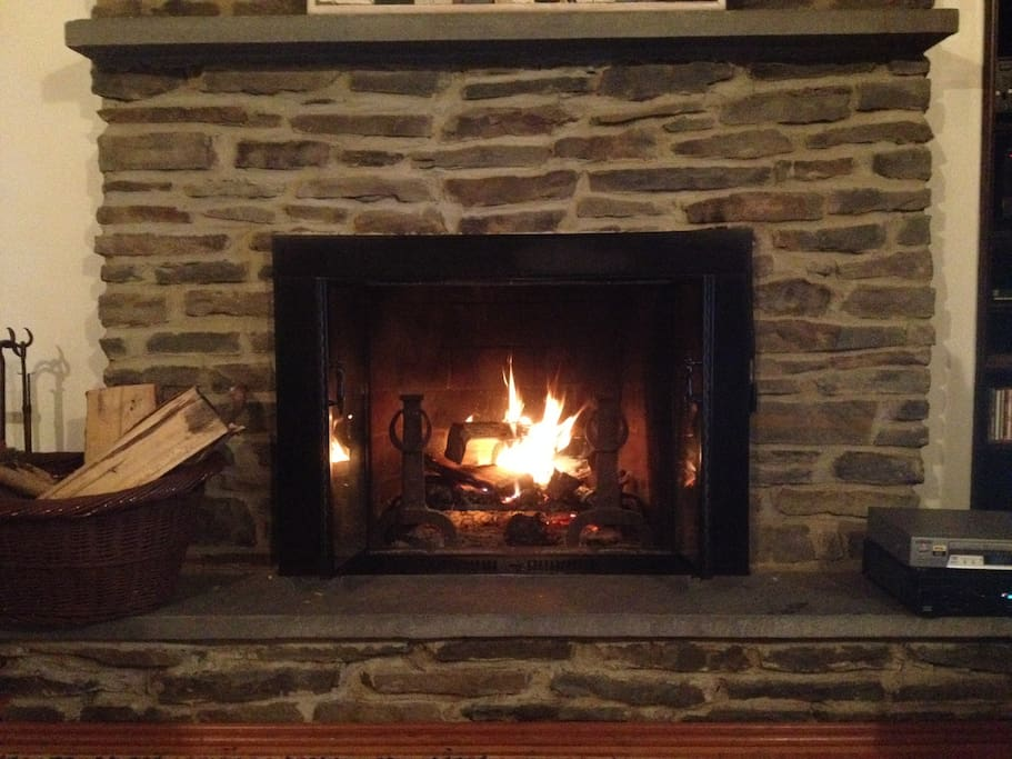 Warm yourself on a chilly Fall evening by the roaring fireplace.