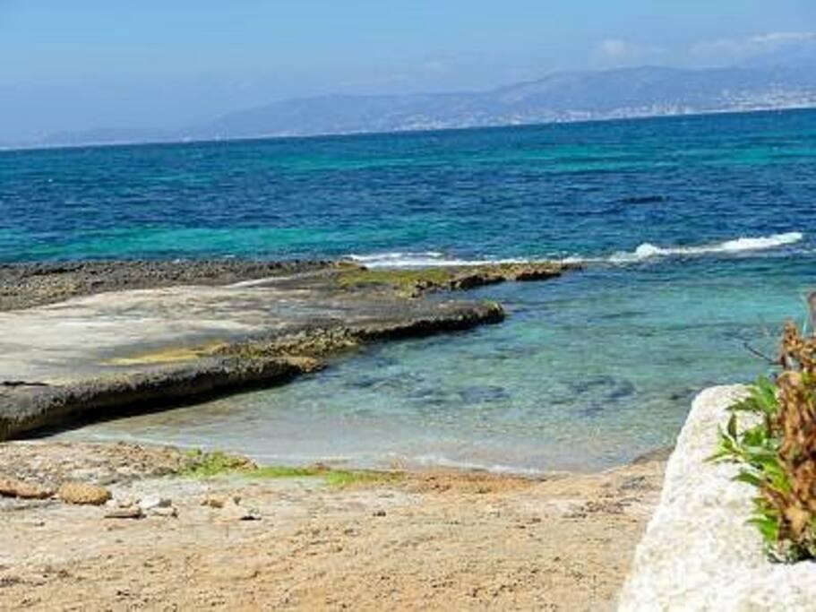 Playa con acceso desde la casa