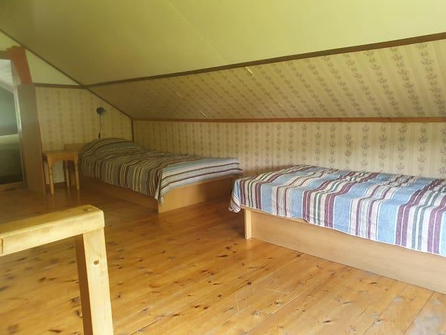 Sovrum 2 på övervåningen med 2 nya sängar