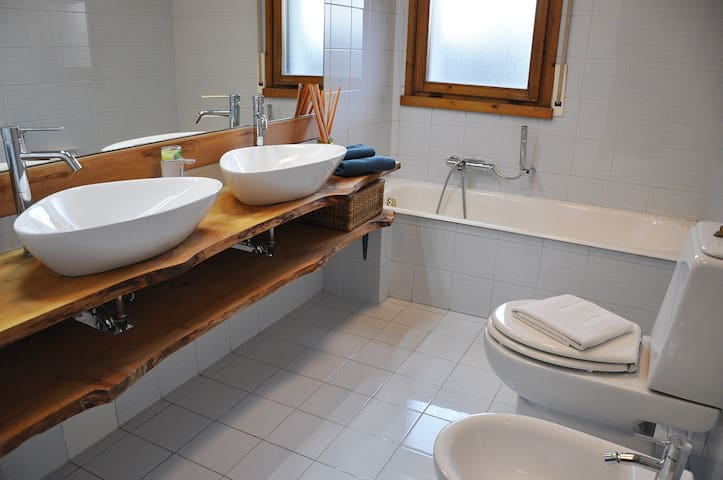 Bathroom with double sink, bathtub and shower