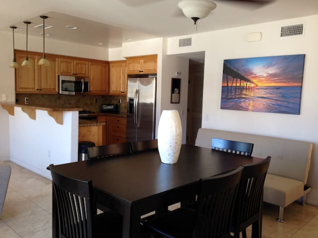 Kitchen, dining and living rooms all conveniently located downstairs, very open floor plan!
