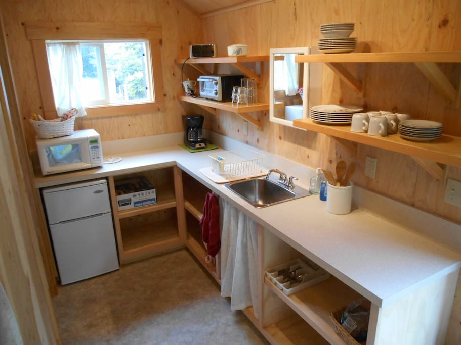 Kitchenette with fridge, microwave, toaster oven, hot plate, tea and coffee pots