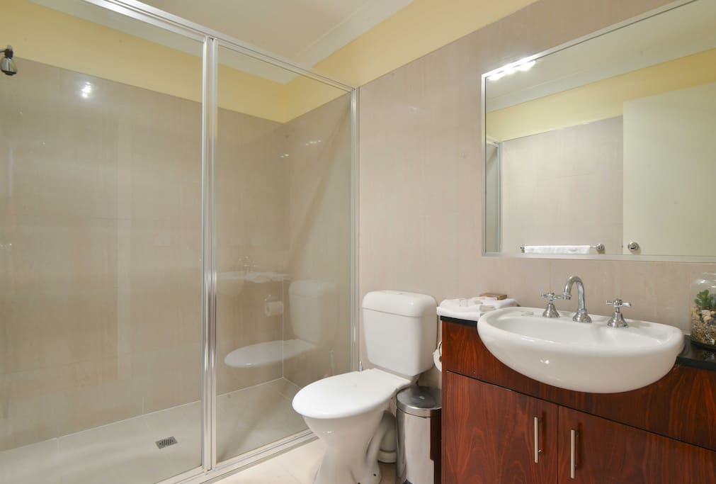 Your own private, downstairs bathroom, next to your bedroom. Your bathroom has a very large shower,  and a bathroom cabinet for your own use.