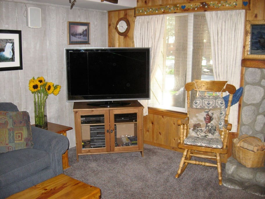 50'in HDTV ,DVD with lots of DVDs ,play station