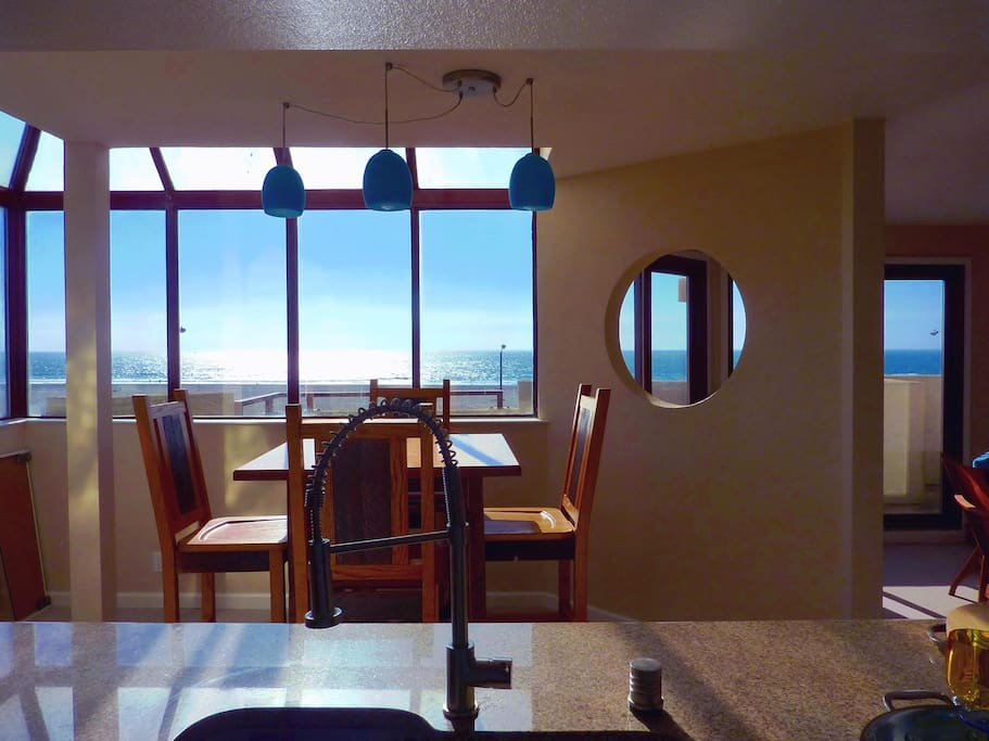 Dining area and view from kitchen sink!  Waiting for the sunset.
