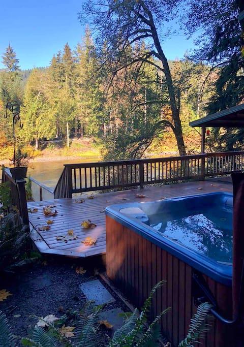 Riverfront hot tub