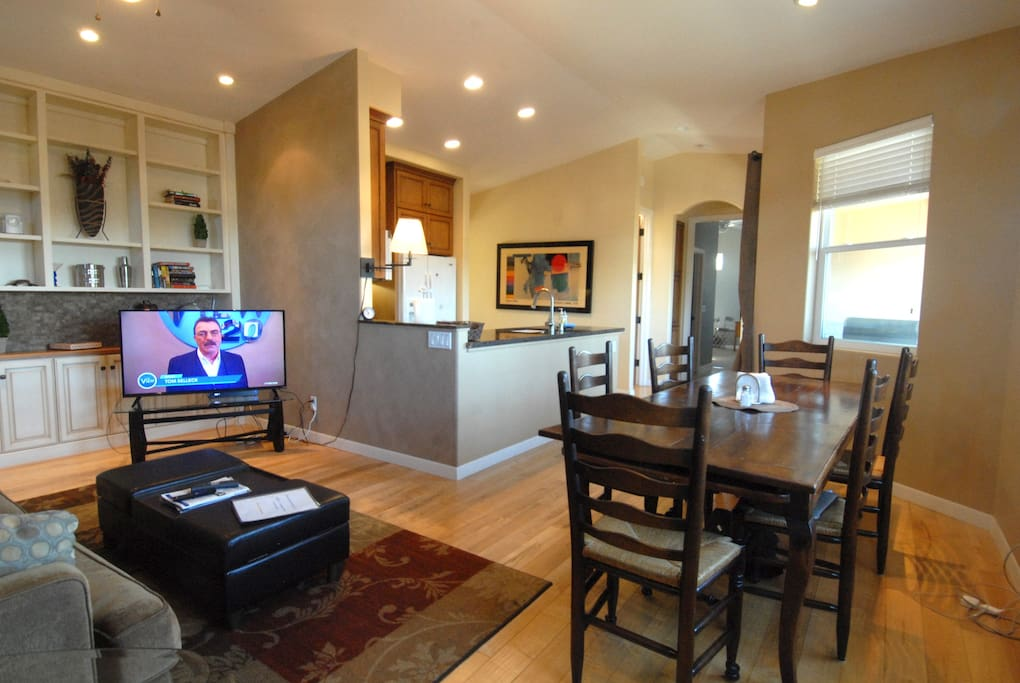 Main living area with 55 inch TV including DVR Cable with premium channels
