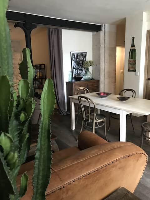 Appartement  style loft en rez de chaussée.