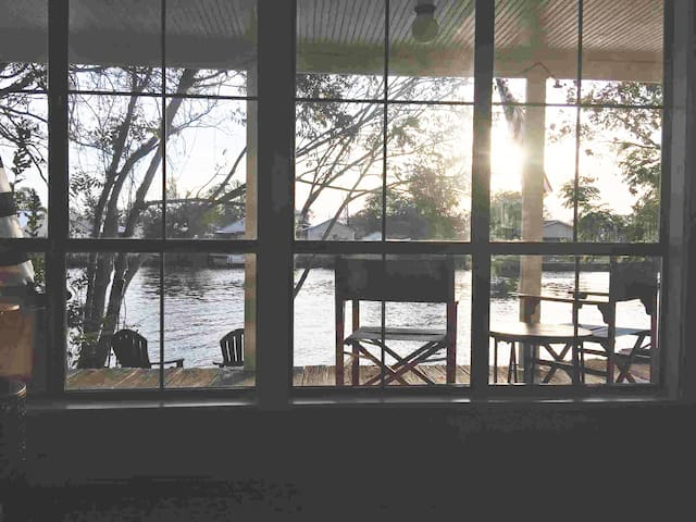 A view from the couch at dusk!