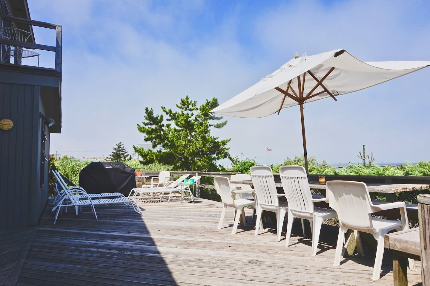 Enjoy bay views from the deck!