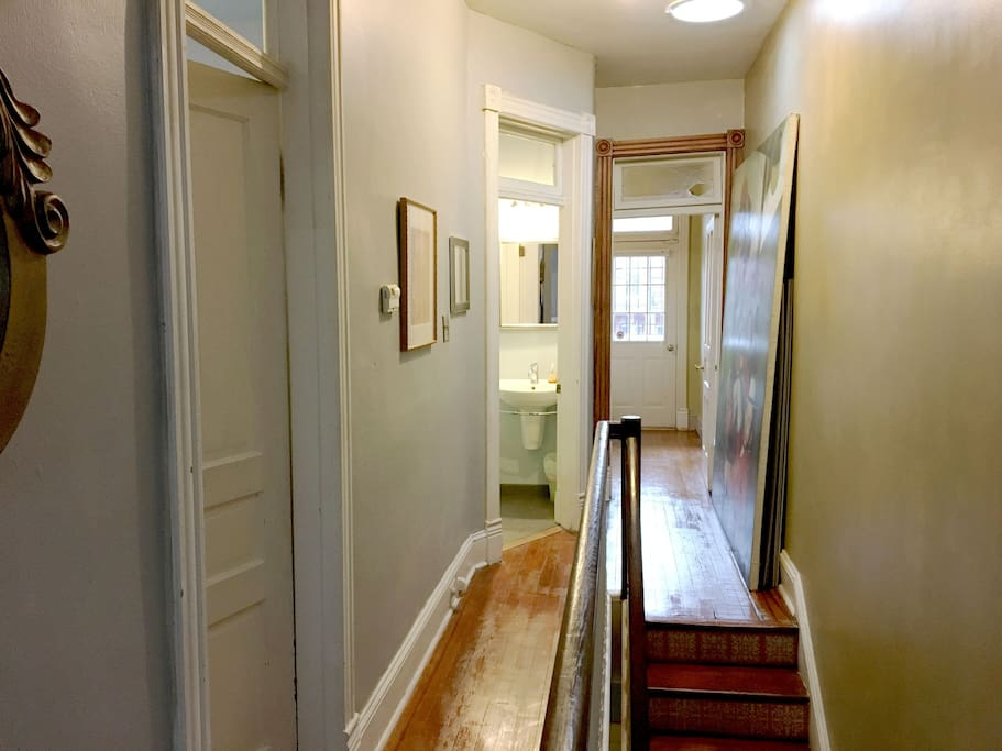 Your private rooms are at the top of the staircase on the second floor. Room 1 is straight ahead, and Room 2 is to the left