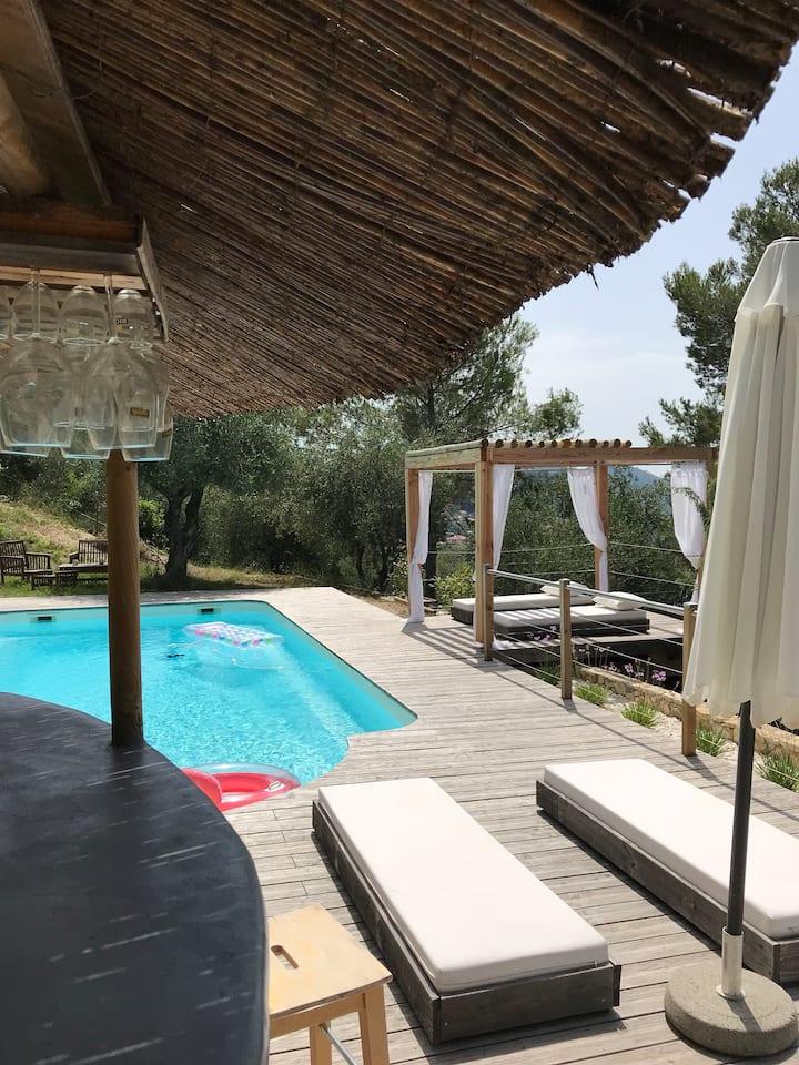 Bel appt privé dans Villa Niçoise avec piscine