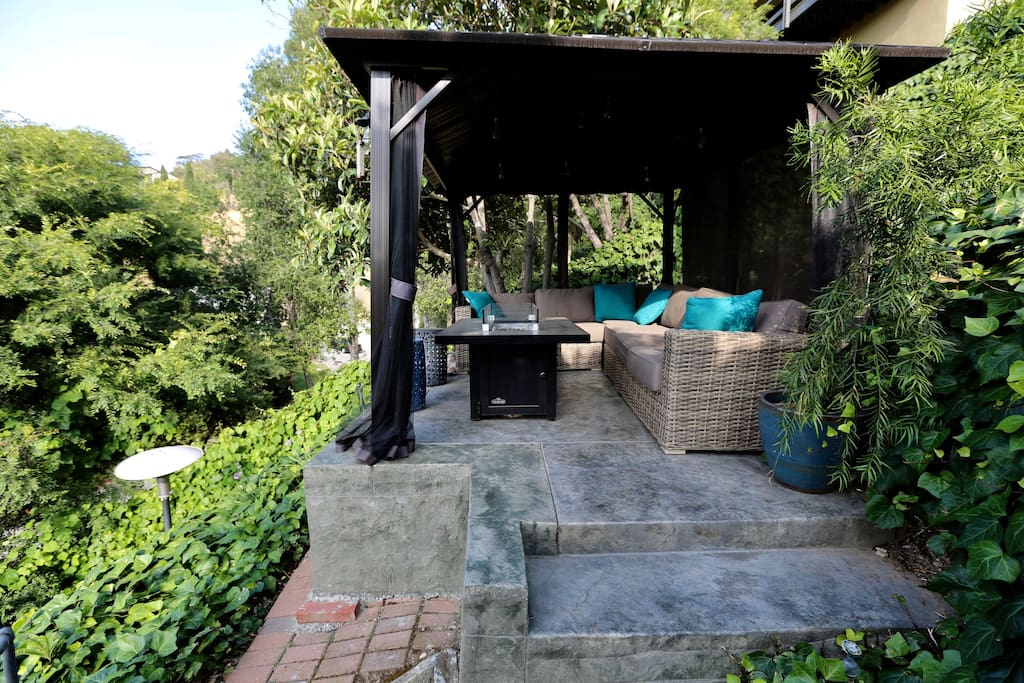 Backyard Covered Patio with Fire Pit