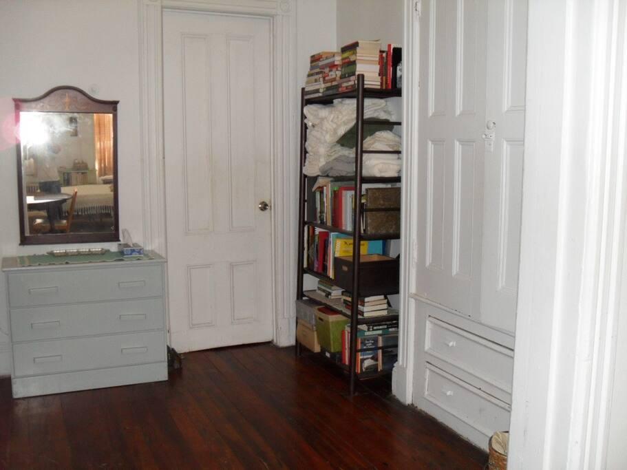 Dressing room, closet, plenty of storage, linens provided.