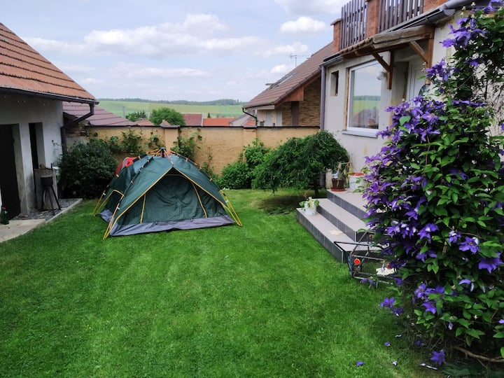 Tent in a beautiful garden close to Prague