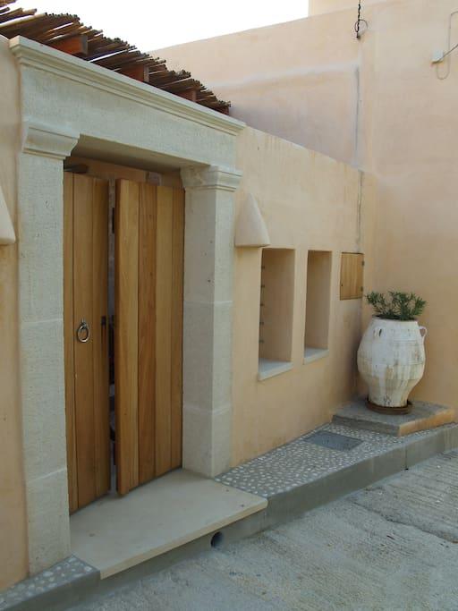 Agapi Holiday House yard entrance.