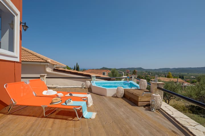 Sun deck with plunge pool and sea views.