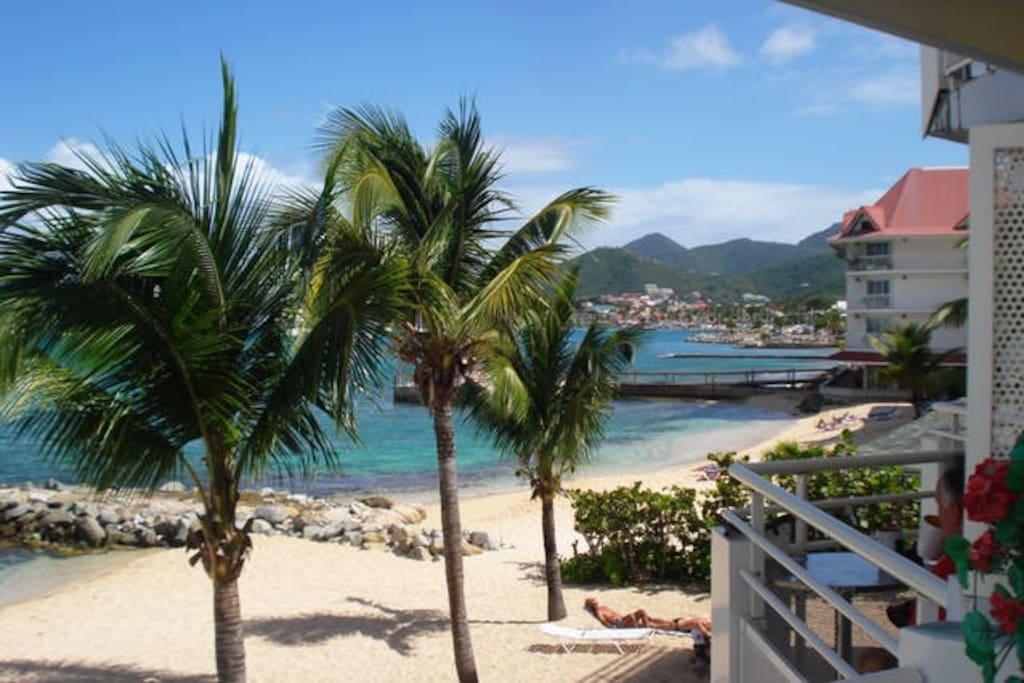 balcony and private beach