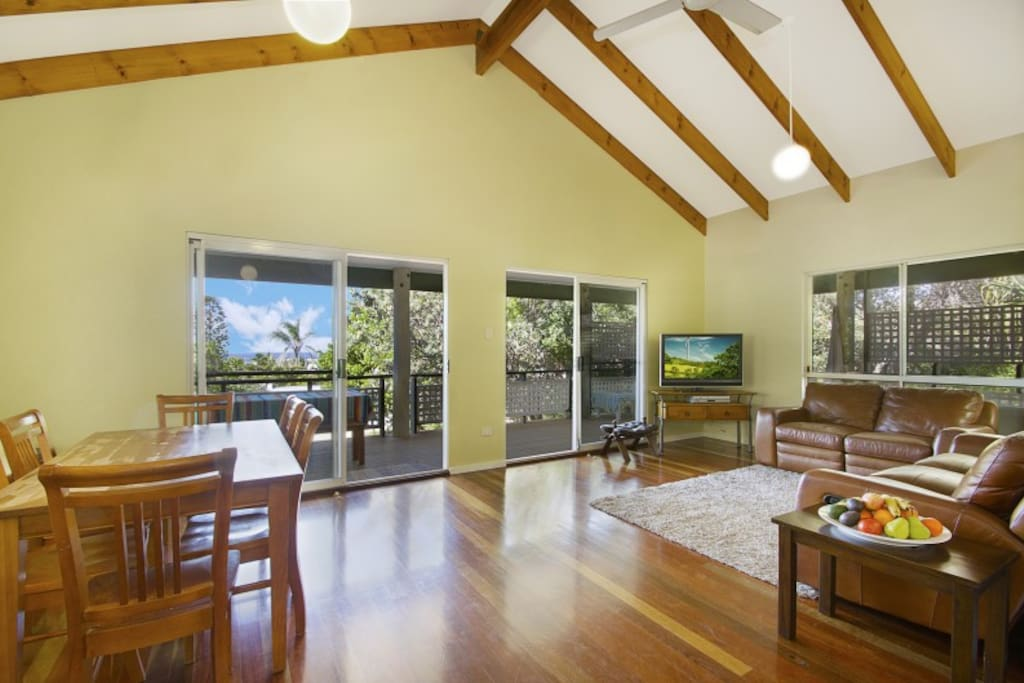 Open plan living.  High ceilings, ocean view