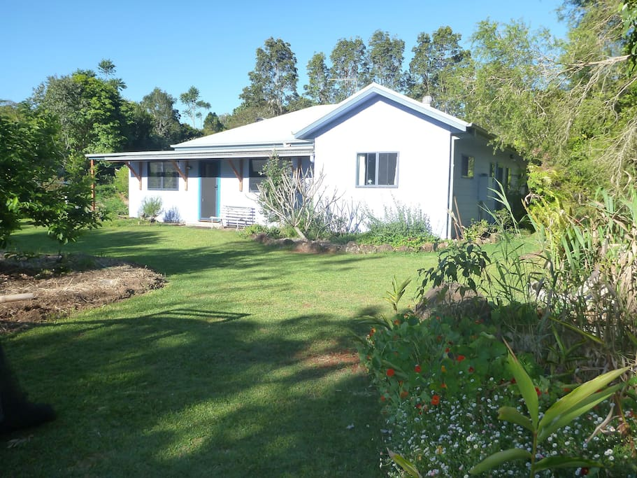 Spacious, fully fenced yard with wrap around gardens