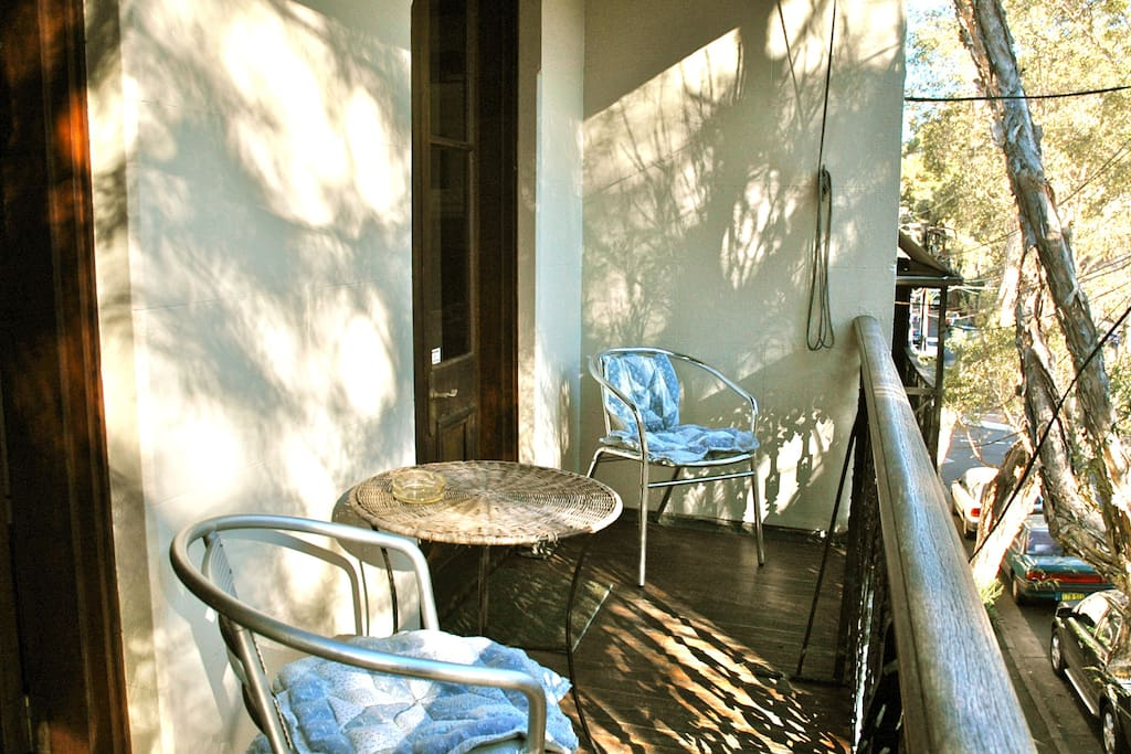 The sunny balcony where you can sit and sip tea or coffee and watch the world go by.