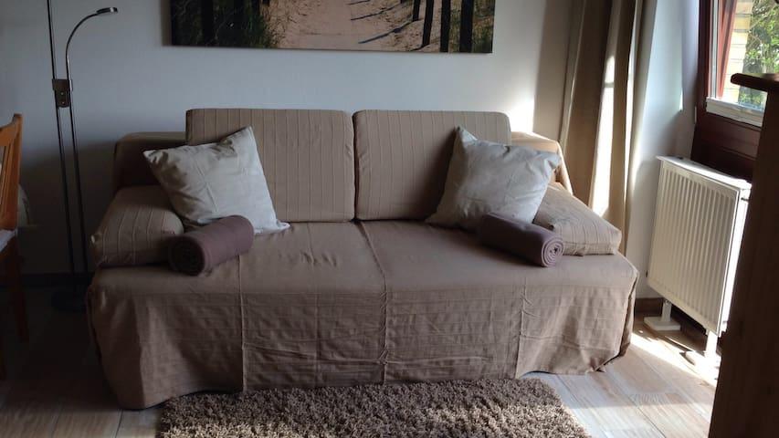 Boxspring-Schlafcouch im Wohnzimmer