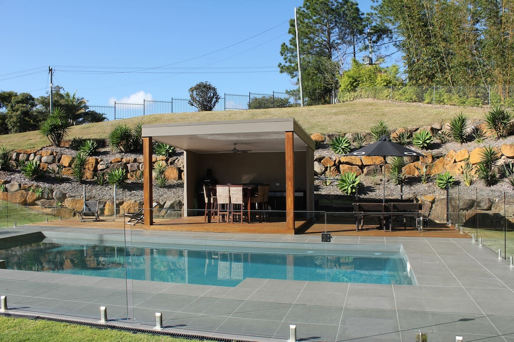 View of fully-fenced pool area from the house - offering complete privacy