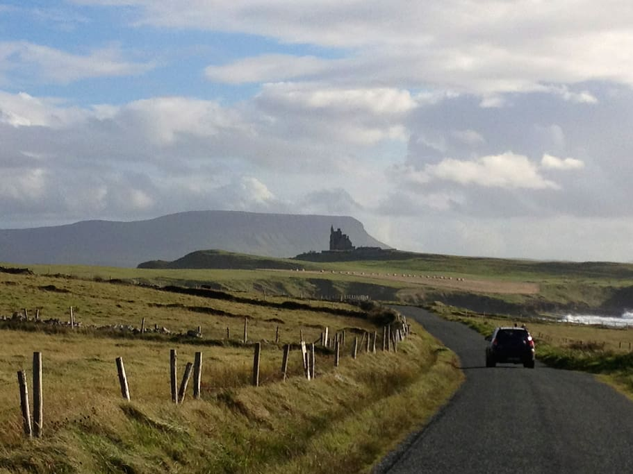 Classiebawn Castle from Mullaghmore, with Benbulben in the background