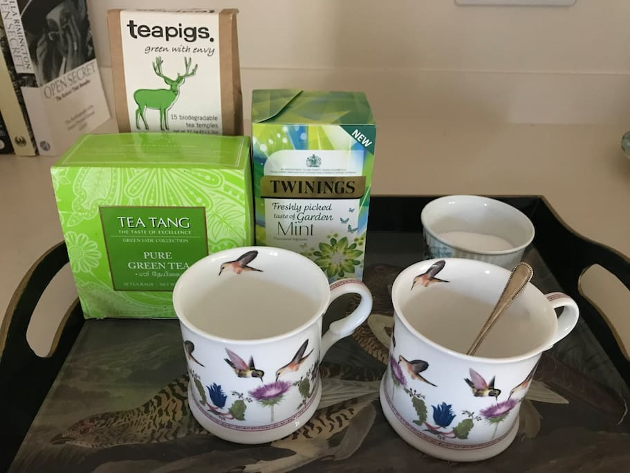 A selection of tea, coffee and biscuits is available in your suite