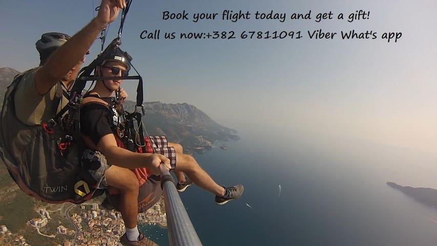 Paragliding flight Budva