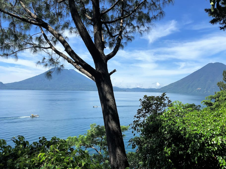 View of volcano Atitlan, volcano Toliman and volcan San Pedro from patio.