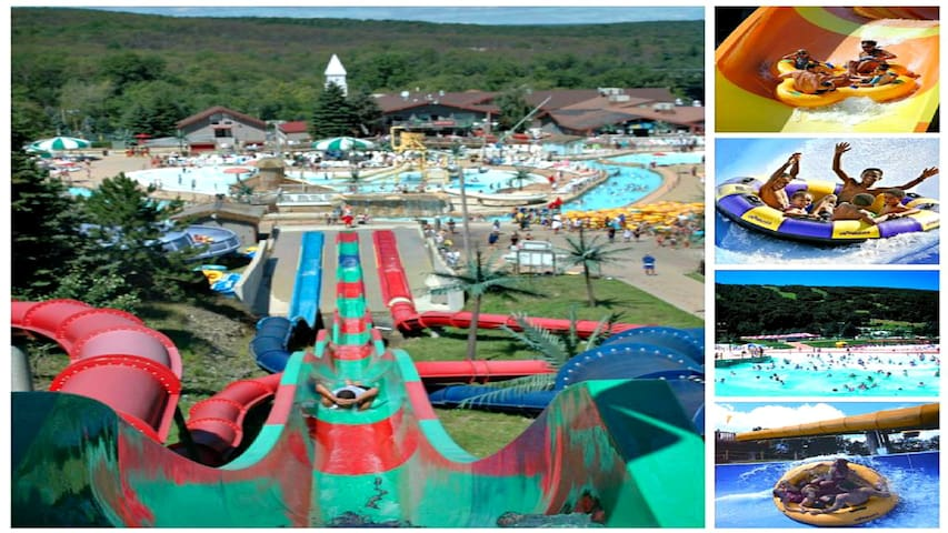 CamelBeach waterpark has many waterslides to enjoy