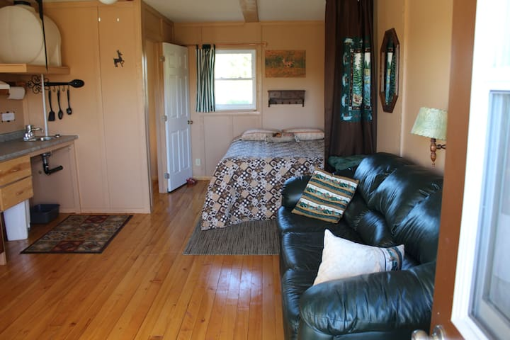 The bedroom area has a privacy curtain between living and sleeping areas.
