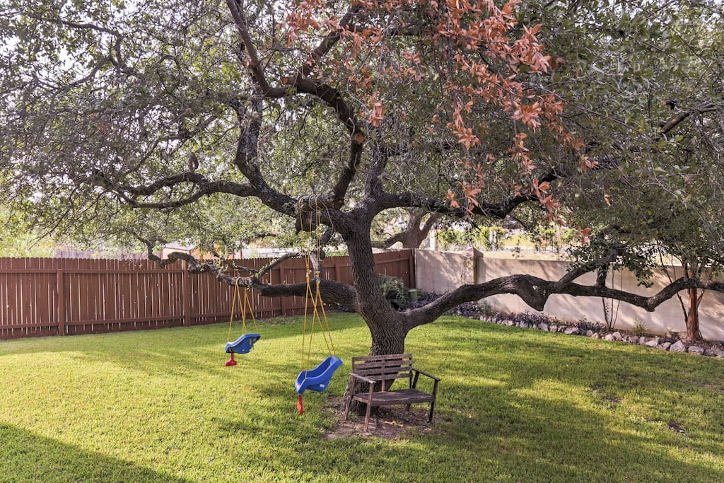 The fenced backyard is great for letting the kids run wild!